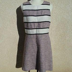 Ann Taylor twill stripes cotton & wool Blend white